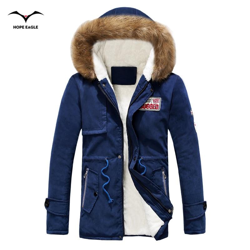 Men Coats Winter Jacket Men Slim Thicken Fur Hooded Outwear Brand Clothing Casual Warm Army green