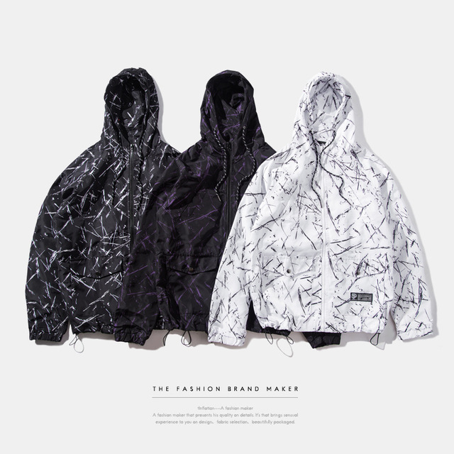 Brand men 's clothing | 2016 autumn outfit marbled waterproof dead fly thin section  wear, hooded jacket men cardigan