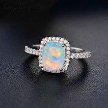 RongXing, белые/синие/зеленые/фиолетовые/Оранжевые Кольца с огненным опалом для женщин, 925 пробы, заполненные серебром, красочное кольцо, модное ювелирное изделие HR051