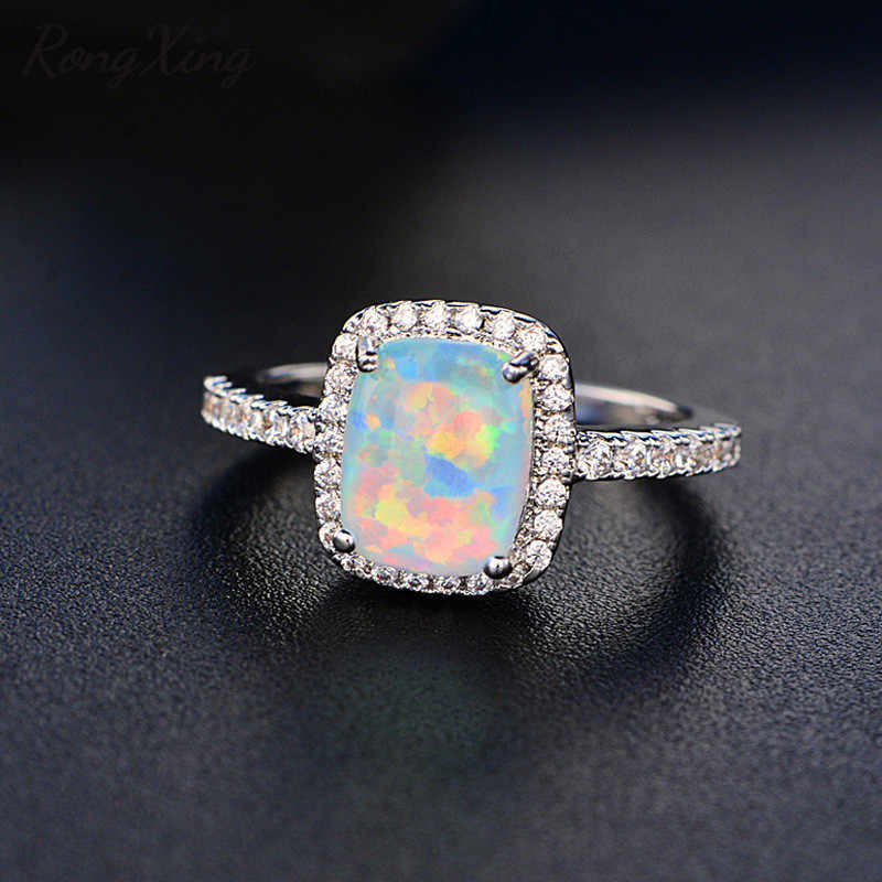 RongXing White/Blue/Green/Purple/Orange Fire Opal Rings For Women 925 Sterling Silver Filled Colorful Ring Fashion Jewelry HR051