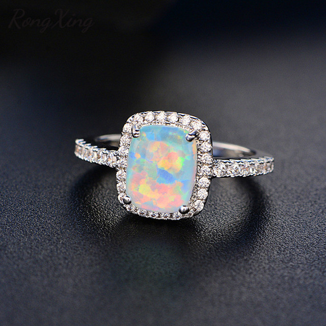 RongXing White Blue Green Purple Orange Fire Opal Rings For Women 925  Sterling Silver Filled Colorful Ring Fashion Jewelry HR051 74fb88e92791