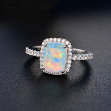 RongXing White/Blue/Green/Purple/Orange Fire Opal Rings For Women White Gold Filled Colorful Ring Fashion Jewelry HR051