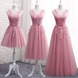 Dusty Rosa Vestidos de Dama de honra Longo Sem Mangas Lace Apliques baratos Formal Prom Vestidos de Festa Vestidos De Noiva Robe De Mariage