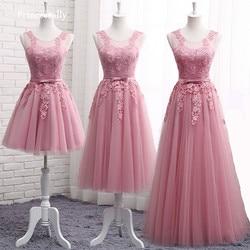 Dusty rosa vestidos de dama de honra longo sem mangas rendas apliques baratos formal baile de formatura vestidos de festa de noiva robe de mariage