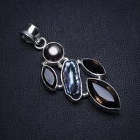 Natural Smoky Quartz,Biwa Pearl and River Pearl Vintage 925 Sterling Silver Pendant 2 T0150