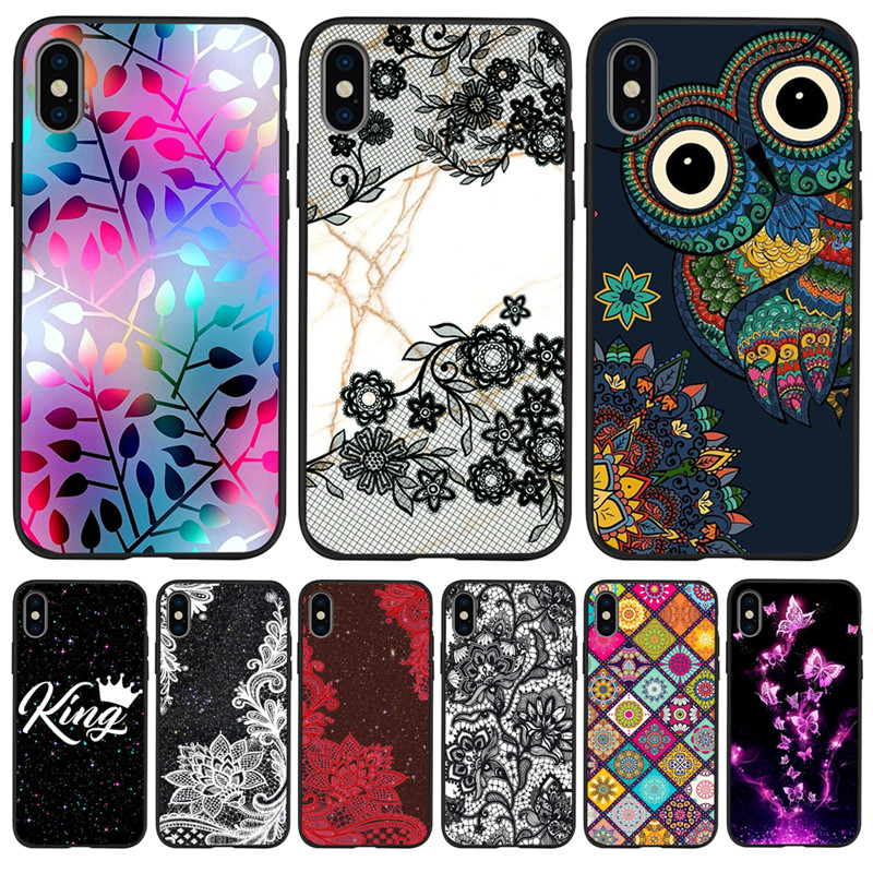 Flower Floral King marble Custom For iPhone X XR XS Max 5 5S SE 6 6S 7 8 Plus phone Case Cover phone Funda Coque Etui Luxury