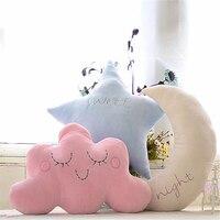 40cm Kawaii Sofa Cushions Cover Star Moon Plush Pillow PP Cotton Cute Toys Cute Pillow Cushion Cartoon Kids Toys for Girls F09
