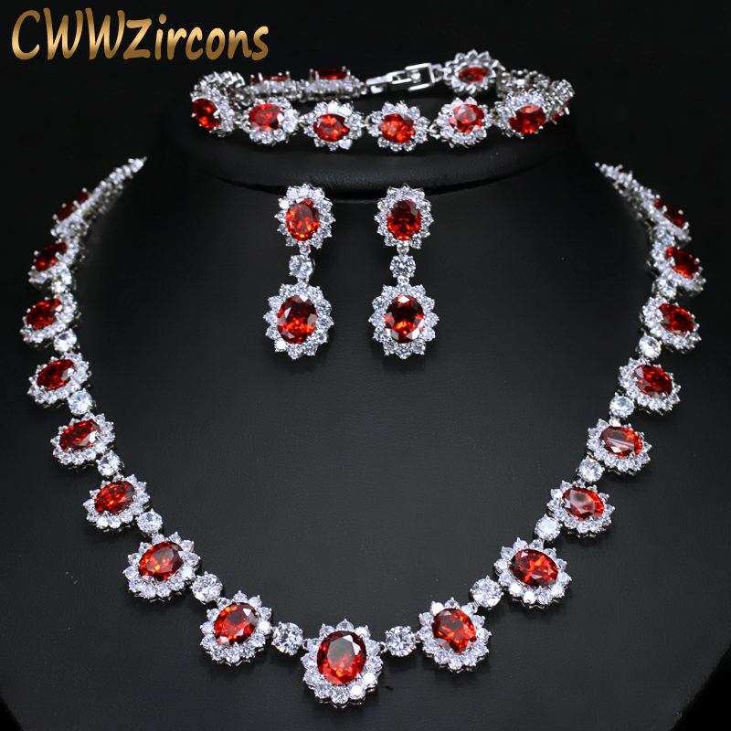 CWWZircons Sparkling Round Cubic Zirconia Luxury Big Bridal Red Necklace Earring Bracelet Set For Wedding Party Jewelry T083