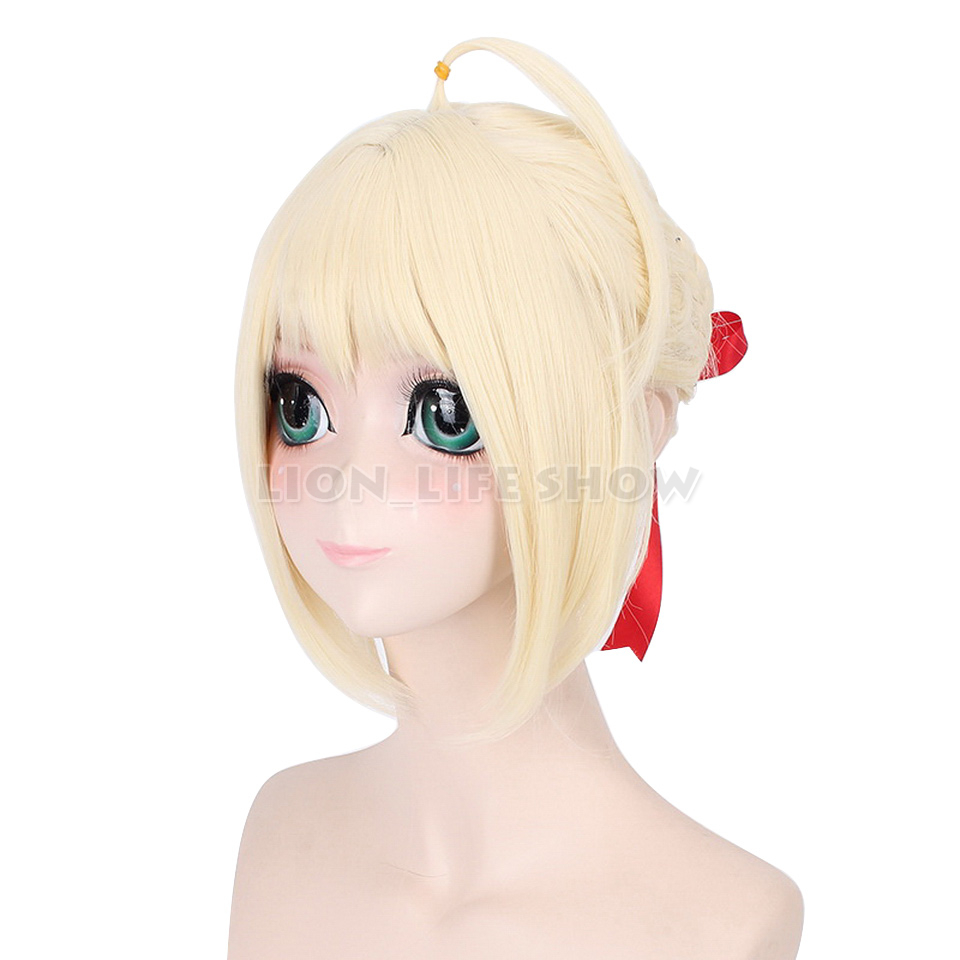 Fate Stay Night Synthetic Short Straight Yellow Silver Gray Blonde  Saber Cosplay Wig Bangs With Around Head Whips