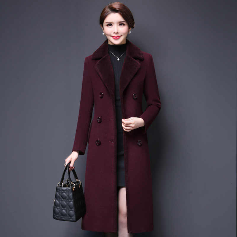 M-5XL New Women Wool Blends Coat Winter 2019 Fashion Mother Thicken Cashmere Collar Long Jacket Warm Slim Tops Outerwear Female