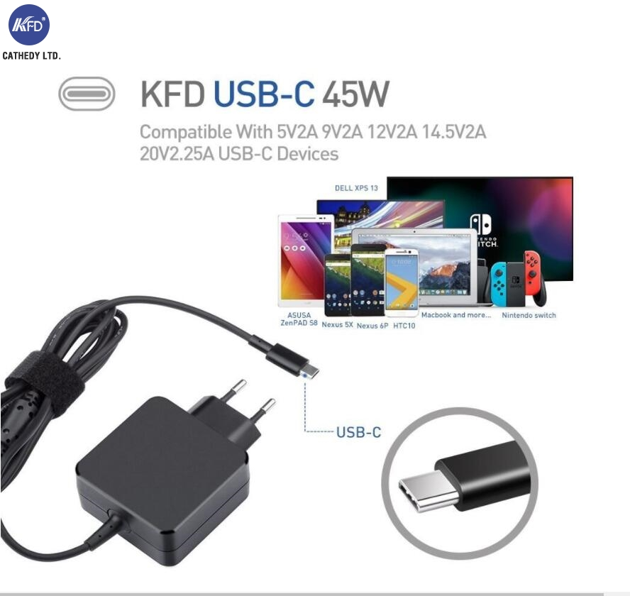 2018 KFD New 5-20V 45W PD Type-C Charge for Xiaomi Air 2017th For YOGA 5 X1 Ultra Pixel 2 Dell XPS13 Acer Swift 7 PA-1450-80 PSU