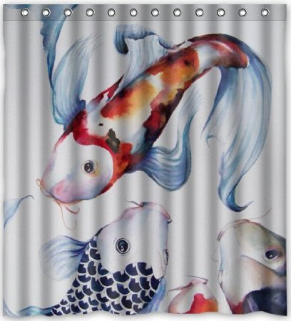 Japanese Koi Fish Theme Waterproof Shower Curtain Polyester Fabric 180x180cm Bathing Curtains With Hook Decorations