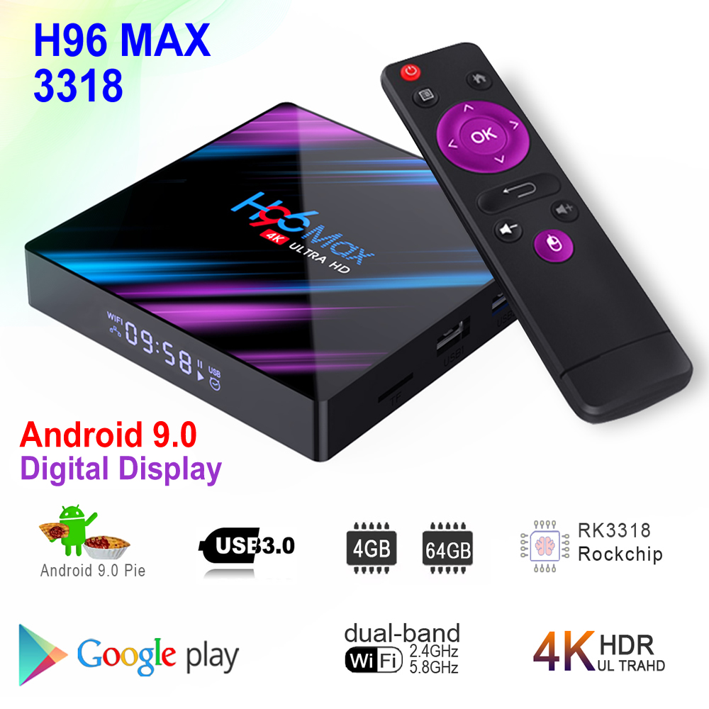 H96 MAX 3318 Android 9.0 Smart TV Box Rockchip RK3318 BT4.0 USB3.0 64 4GB RAM GB ROM 2.4G /5G Dupla WIFI 3D 4K HDR Conjunto Top Box