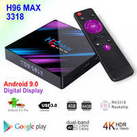 H96 MAX 3318 Android 9.0 Smart TV Box Rockchip RK3318 4GB RAM 64GB ROM BT4.0 USB3.0 2.4G/5G Dual WIFI 3D 4K HDR Set Top Box