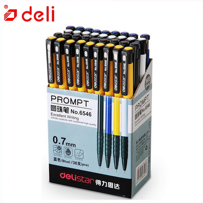 Deli 36 Pcs/lot Ballpoint Pen Student Stationery 0.7mm Pressed Ballpoint Pen 4 Color Plastic Ball Pen School & Office Supplies