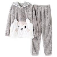 Autumn Winter Warm Coral Fleece Cartoon Women's Pajama Sets Micro Velvet Sleep Bottoms Mujer Flannel Pajamas Girl Home Clothing