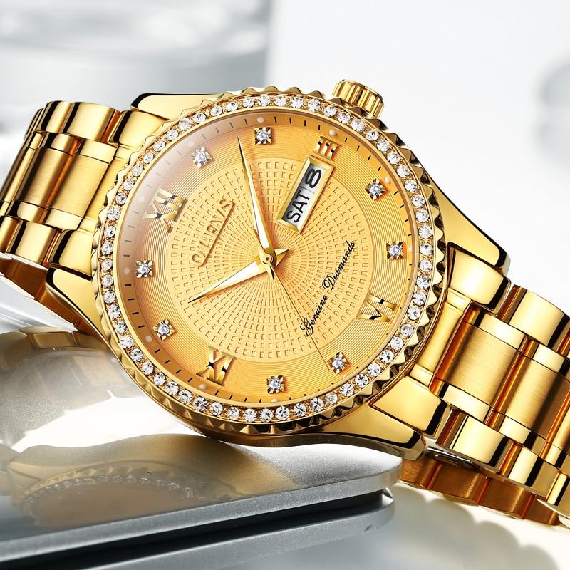 OLEVS Férfi karórák Top márka luxus teljes acél arany kvarc - Férfi órák - Fénykép 2