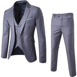 2018 men fashion Slim suits men's business casual clothing Suits three-piece suit Blazers jacket pants trousers vest sets