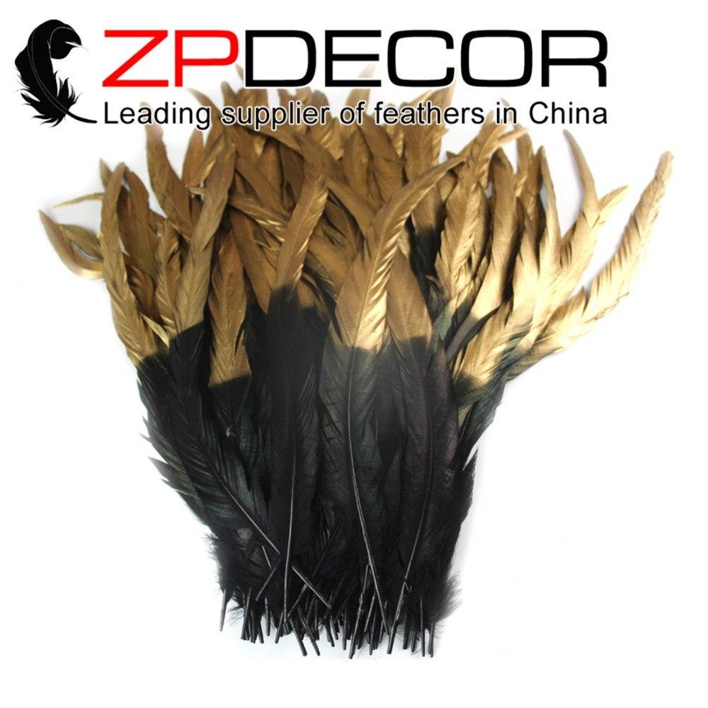 Zpdecor 100 قطعة/الوحدة 40 45 سنتيمتر (16 18 بوصة) ظهرت جودة الأسود والذهبي تلميح الديك الريش للحزب مهرجان لوازم diy كرافت-في ريشة من المنزل والحديقة على  مجموعة 1