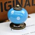 2016 Nova Cerâmica Puxador de Gaveta Polka Dot Imprimir Único Buraco Ferramenta de Manipulação de Abóbora Em Forma de Mobiliário Hardware Maçanetas