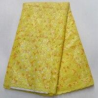 Красивые желтые африканские Ткань Органза 2018 двойной органзы кружевной ткани пайетки швейцарская вуаль кружева свадебное африканских тка