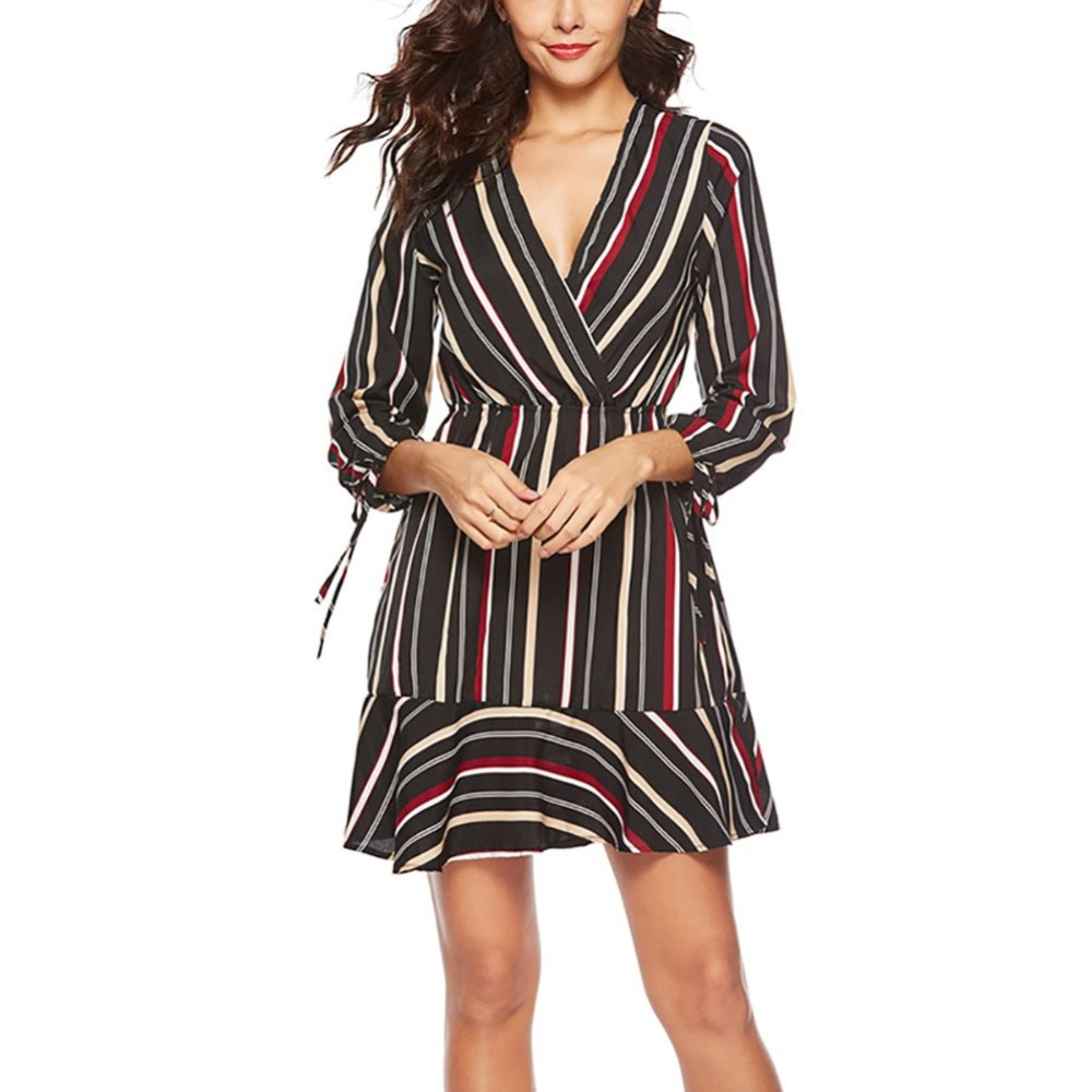 Sexy Deep V Collar Striped Print Irregular Hips Dress Casual Ruffle Mini Party Dresses Women Long Sleeve Casual Dress Female in Dresses from Women 39 s Clothing