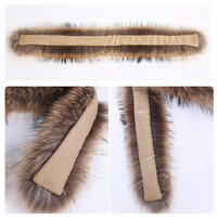 70CM Natural Real Raccoon Fur material for Collar Scarf Genuine Fur Scarves decorate
