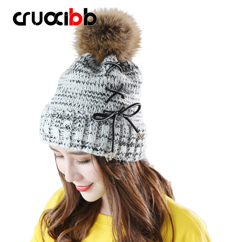 Winter Hat Women Beanie Girls  Pom Poms Hats with Large Raccoon Hair Ball Tie Rope Bow Knitted Rings Super Quality Snow Caps llama and pom poms snow jackets p