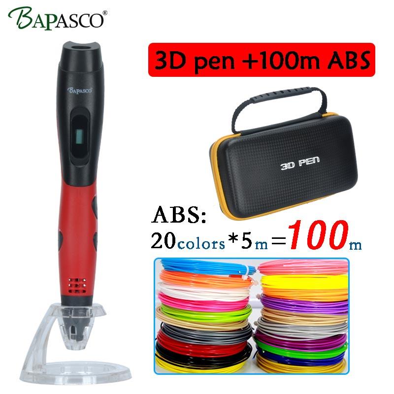 Original Bapasco 3D pen BP-04 add 20colors 100meters ABS 3D printing pen with oled display kids diy drawing pen 3D model pen