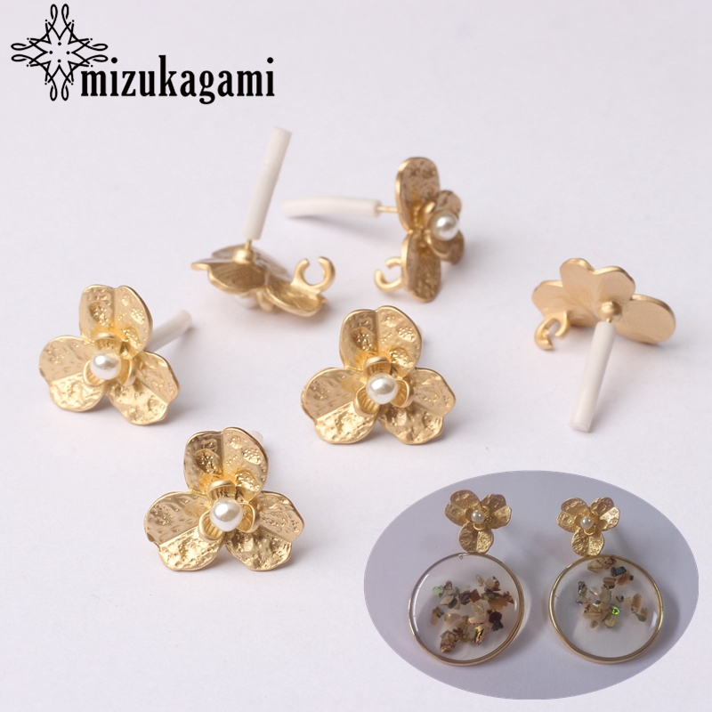Zinc Alloy Golden Pearl Flowers Base Earrings Connector Charms 15mm 6pcs/lot For DIY Drop Earrings Jewelry Making Accessories