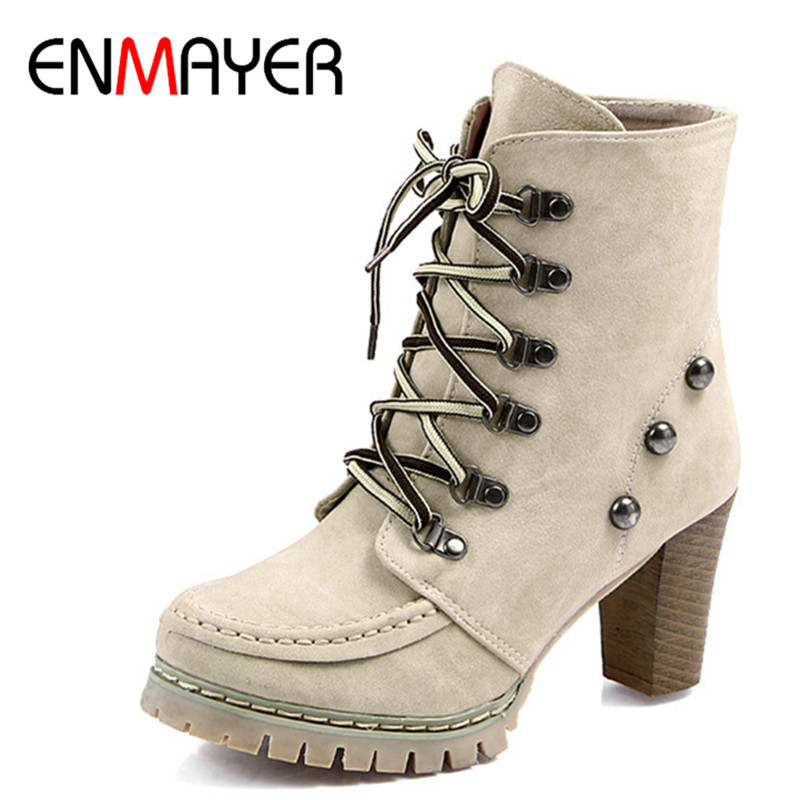 ENMAYER Lace-up New Motorcycle Boots Shoes Woman Large size 34-43 High Heels Winter Boots Rivets Charms Ankle Boots for Women enmayla ankle boots for women low heels autumn and winter boots shoes woman large size 34 43 round toe motorcycle boots