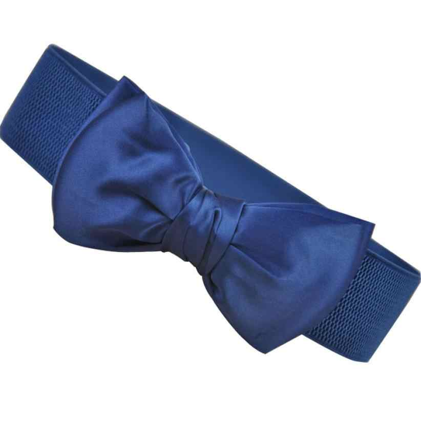 2017 Incredible fashion women paski Bowknot elastyczny szeroki pas elastyczny klamra pas biodrowy