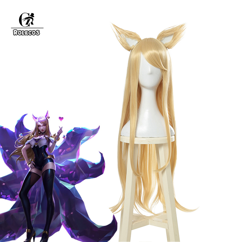ROLECOS KDA Ahri Cosplay Hair LoL KDA Cosplay   Headwear   LOL KDA 90CM Yellow Long Women Hair Heat Resistant Synthetic Hair Perucas