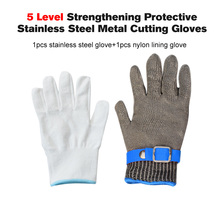 1PCS 100%Stainless Steel Wire Cut-resistant Anti Abrasion Butcher Protect Anti-Cutting Meat Mesh Glove+1PCS Dustless Nylon Glove