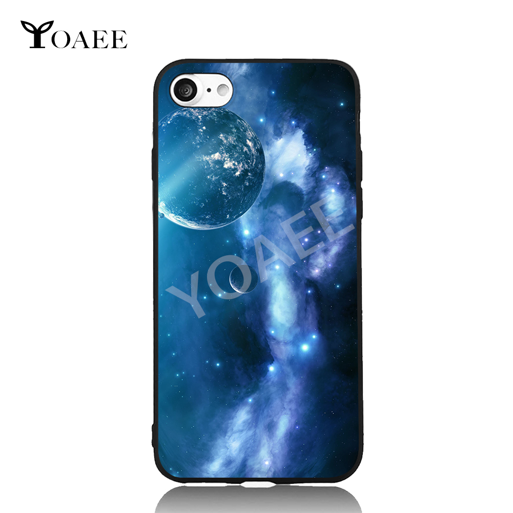 Earth and Universe Nebula Fun Art For iPhone 6 6s 7 Plus Case TPU Phone Cases Cover Mobile