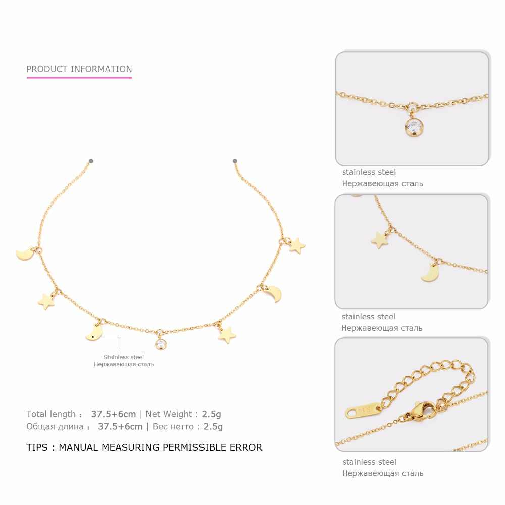 Star Moon Pendant Necklace For Women Classic Stainless Steel Chain Bohemian Fashion Necklace Jewelry Accessories CARLIDANA