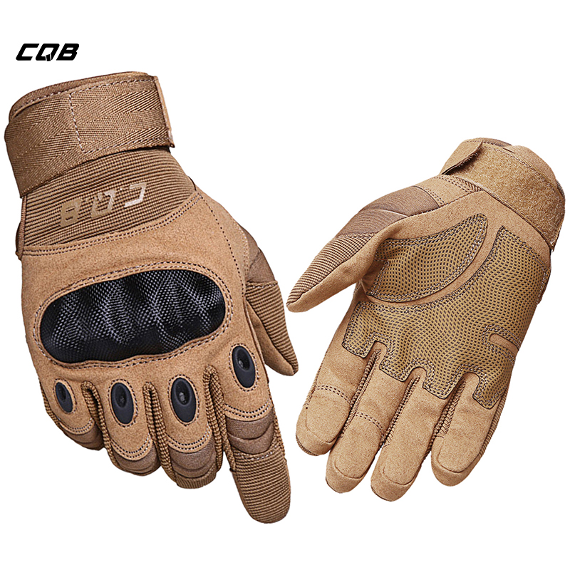 CQB Outdoor Sports Tactical Gloves Full Finger for Hiking Riding Cycling Military Men's Gloves Armor Protection Shell Gloves