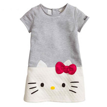 2016 Summer Brand toddler girl clothes short sleeve kitty cat dress kids dress retail baby girl dresses fashion girls costume