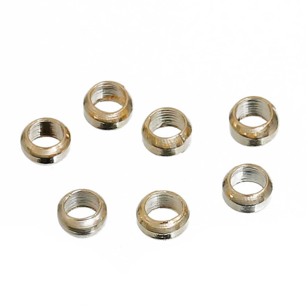 DoreenBeads Zinc Based Alloy Gold Color Spacer Beads Round DIY Components Findings 2mm( 1/8) x 1mm, Hole: Approx 1.2mm, 100 PCs