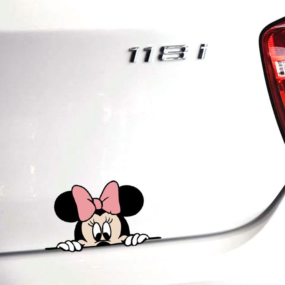 Funny Car Sticker Mickey Minnie Mouse Peeping Cover