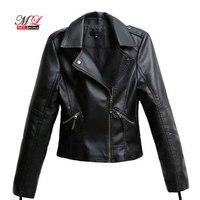4c4aadada57 MLinina Black PU Leather Jacket Women Cool Slim Short Motorcycle Jackets  Female Autumn Coat Basic Street