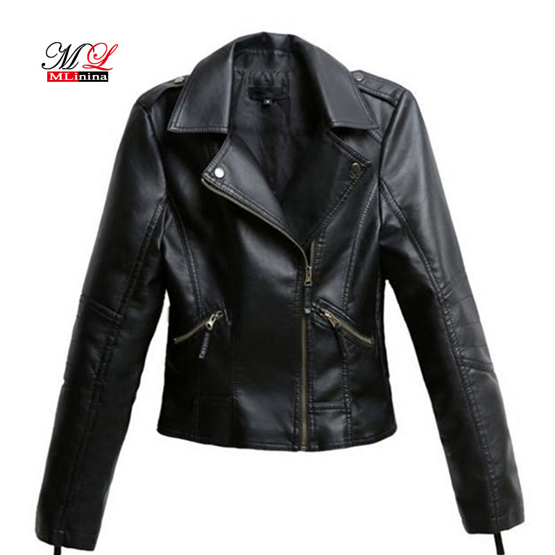MLinina Black PU   Leather   Jacket Women Cool Slim Short Motorcycle Jackets Female Autumn Coat Basic Street Outerwear Plus Size 4XL
