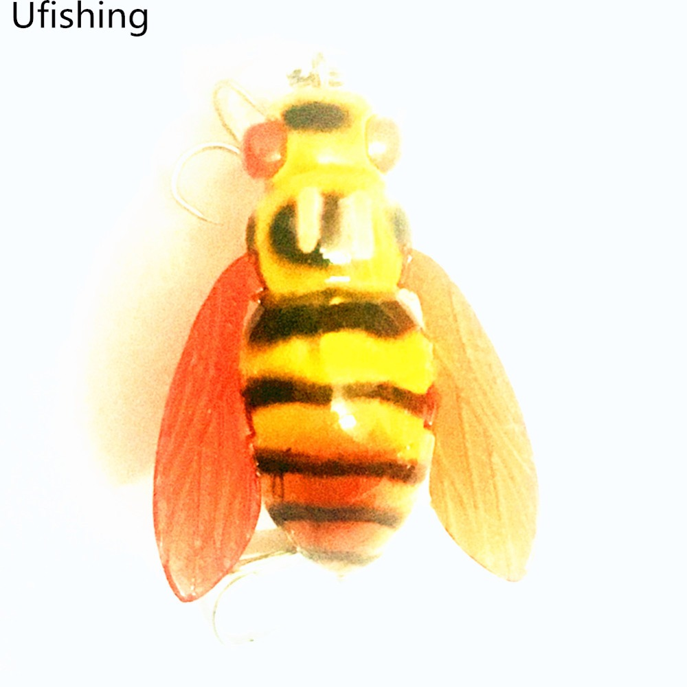 Ufishing 6g 4.5cm Fishing Bait Bee Shaped Lure Top Water Crankbait 3 D Insect Bait New Freshwater Artificial Bait 1 Pcs/Lot crazy bee cnk40 fishing lure top water insect bait 6g 4 5cm freshwater grass carp attack artificial lures