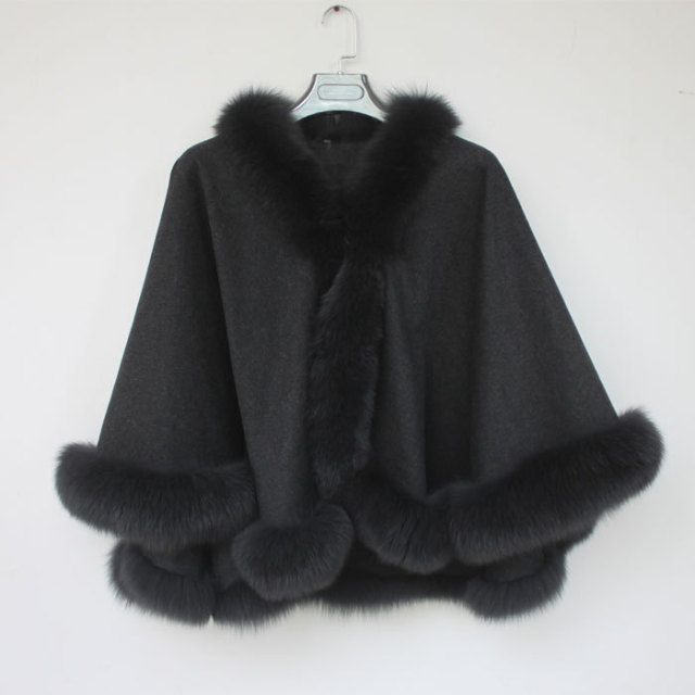 Hot Sale For 2015 Spring New Black Fox Fur Women's Luxury Adult Big Size Unique  Women's Must Have Fashion Style Shawl