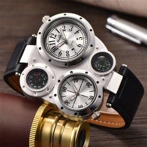 Image 4 - Oulm Horloge Top Merk Mannen Horloges Kompas Decoratie Twee Tijdzone Klok Lederen Mannen Casual Horloges Relogio Masculino