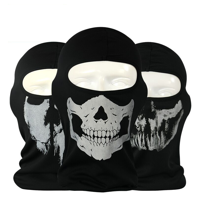 2017 Beanie Hot Print Sale New Cycling Motorcycle Skull Mask Ride Skeleton Hap Balaclava Hood Cosplay Costume Full Face Masks halloween skeleton style cosplay costume face mask gloves set black white