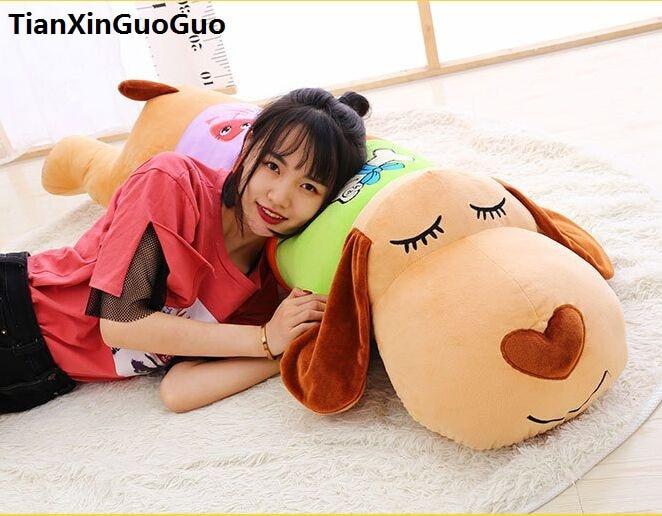 Peluche grand 100 cm dessin animé sujet chien en peluche jouet coloré design beau chien doux poupée jeter oreiller saint valentin cadeau w2569
