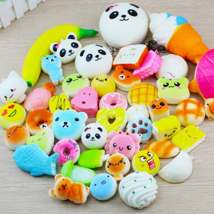 10pcs Kawaii Mini Suit Toys Baby Squishy Soft Doll Squeeze Toy  Cartoon Bread Squishy Scented Squishy Slow Rising
