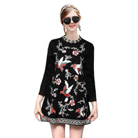 High Quality Europe Designer Woman Dress Autumn 2017 New Fashion Heavy Birds Embroidery Cotton Loose Casual