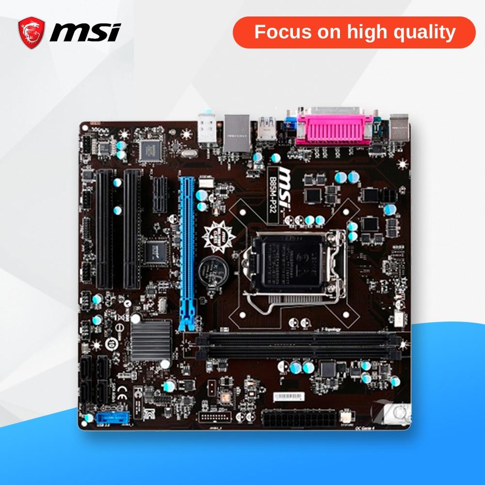 MSI B85M-P32 Original Used Desktop Motherboard B85 Socket LGA 1150 i3 i5 i7 DDR3 32G SATA3 USB3.0 Micro-ATX asrock h61m vg4 original used desktop motherboard h61 socket lga 1155 i3 i5 i7 ddr3 16g usb2 0 micro atx